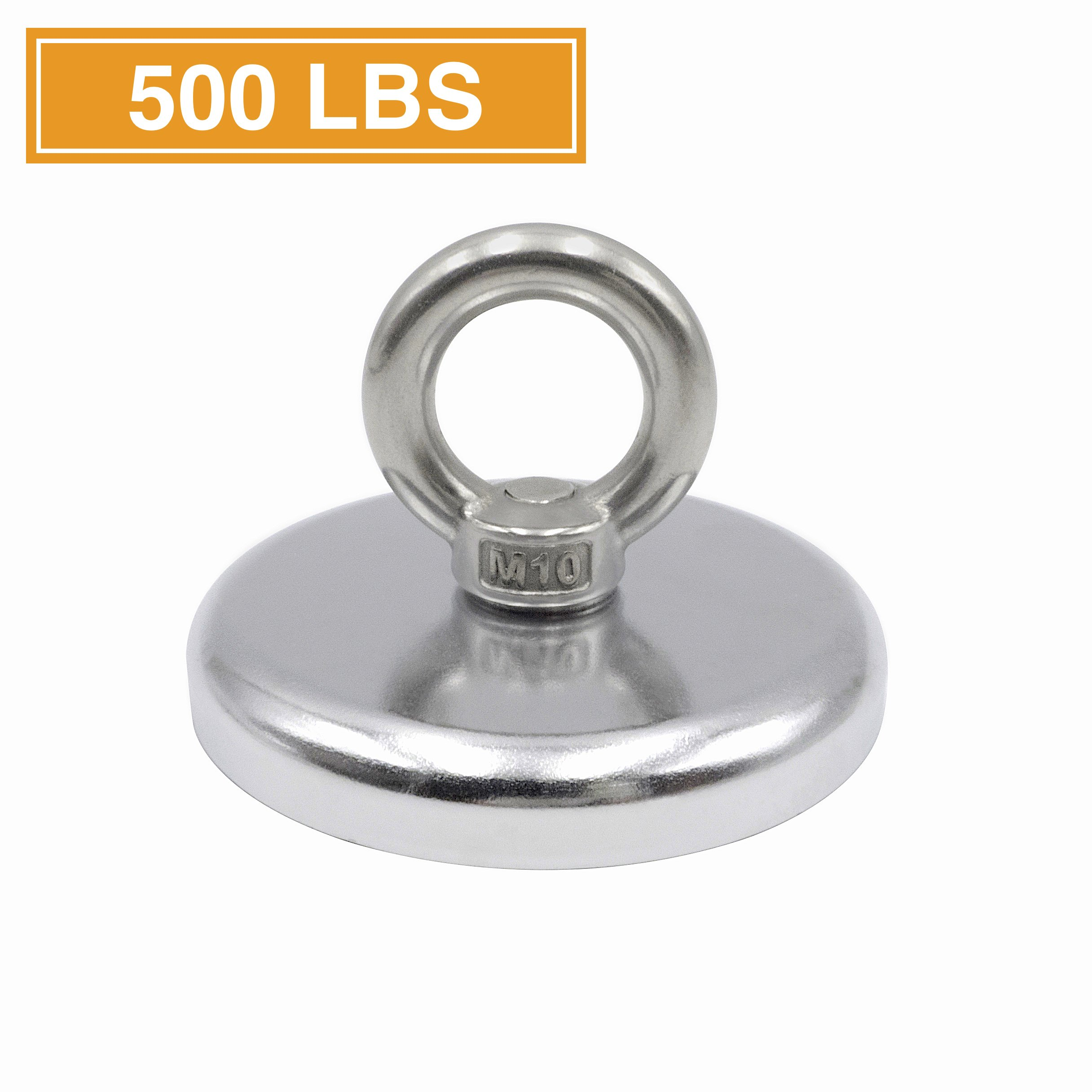 """500 lbs Pulling Force Super Strong and Powerful Round Neodymium Magnet for Salvage or Magnet Fishing with Countersunk Hole and Eyebolt, 3.54 """" Diameter"""