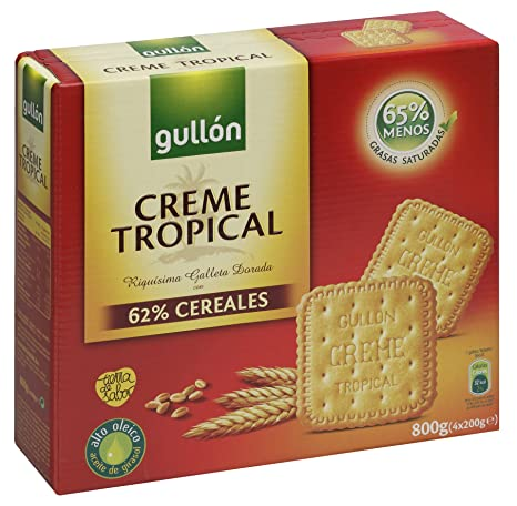 Gullón Creme Tropical Galletas - Pack de 4 x 200 g - Total: 800 g