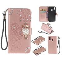 COWX Handyhülle für Huawei P20 Lite Hülle Leder Flip Case Brieftasche Etui Schutzhülle fürHuawei P20 Lite Tasche Cover Rhinestone Eule (Roségold)