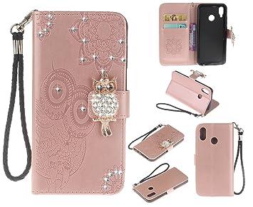 COWX Teléfono Móvil para Huawei P20 Lite Carcasa Piel Flip Case Cartera Funda Carcasa fürhuawei P20 Lite Funda Cover imitación búho (Oro Rosa): Amazon.es: ...