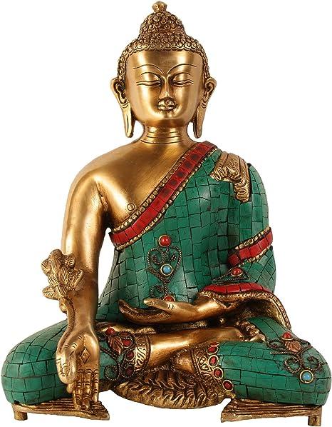 Aone India Piedras Preciosas Work 11 De Altura Grande Tibetana Estatua De Buda Latón Nepalí Tibetana Latón Bronce Escultura Budismo Medicina Figura Cash Envelope Pack De 10 Home Kitchen