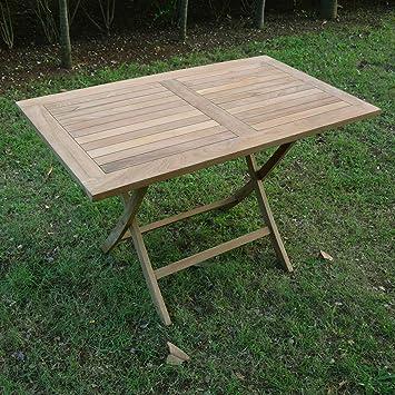 Table pliante rectangulaire en teck massif 120x70 cm - Kensaï ...