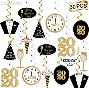 PartyHacks 55ct New Years Eve Party Hanging Decorations 2020 NYE Theme Party Supplies Decoration Kit Gold Black Foil Swirls with Bonus Photo Paper Props