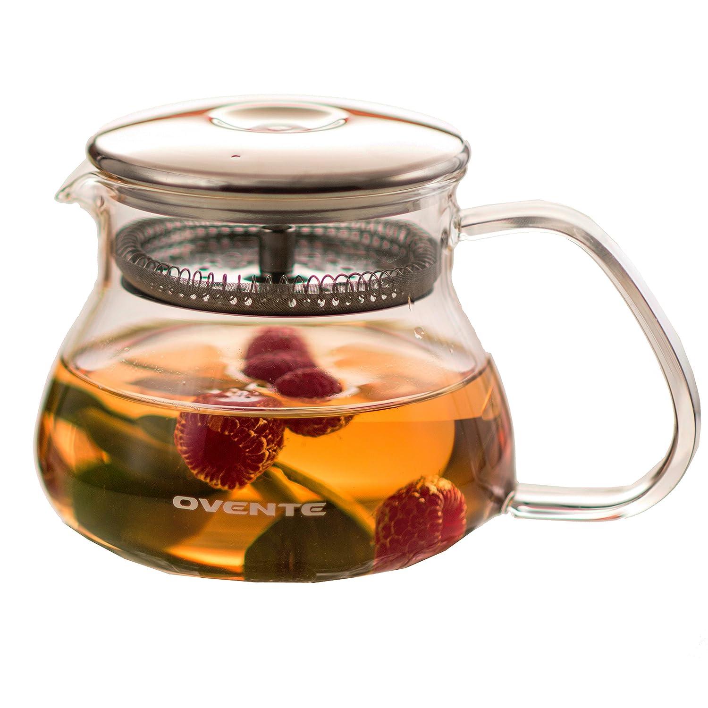 Ovente Heat Tempered Resistant Borosilicate Glass Teapot, 17 oz (FGB17)