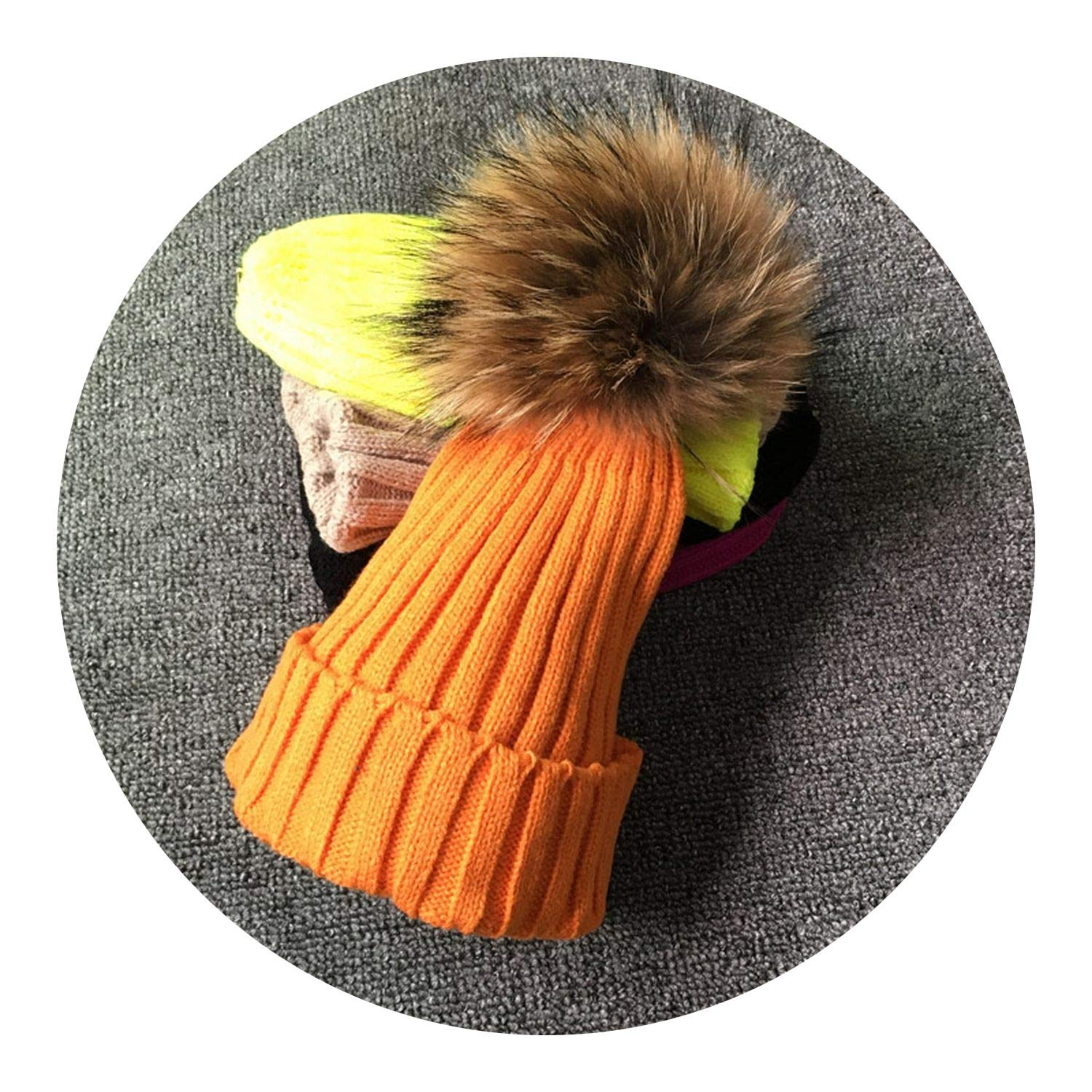 Winter Female Fur Pom Poms hat Winter Hat for Women Girls Hat,Orange with Fur,Adult Size