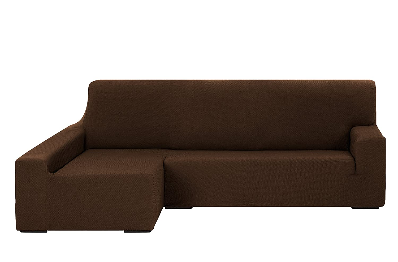 Martina Home Tunez Funda Elástica para Sofá Chaise Longue, Brazo Izquierdo, color Marrón, tamaño desde 240 a 280 cm: Amazon.es: Hogar