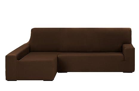 Martina Home Tunez Funda Elástica para Sofá Chaise Longue, Brazo Izquierdo, color Marrón, tamaño desde 240 a 280 cm