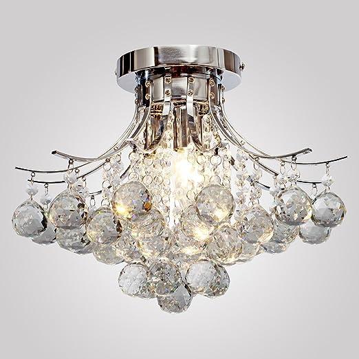 Modern k9 crystal chandelier 3 light(chrome)mini style flush mount