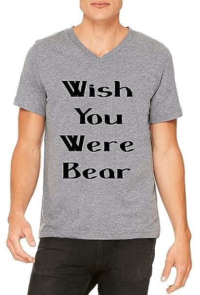 09cfed18 Wish You were Bear Hombres V-Neck T-Shirt: Amazon.es: Ropa y accesorios