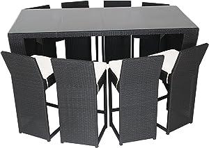 husen Luxury Wicker Patio Indoor Outdoor Dinner Table Furniture Set (T149)