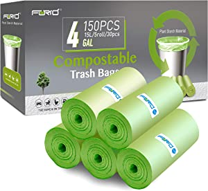 Small Trash Bags - FORID 4 Gallon Compostable Garbage Bags 150 Count Unscented Strong Trash Can Liners 15 Liter Wastebasket Bags for Kitchen Bathroom Home Office Garbage Can (5Rolls/Green)