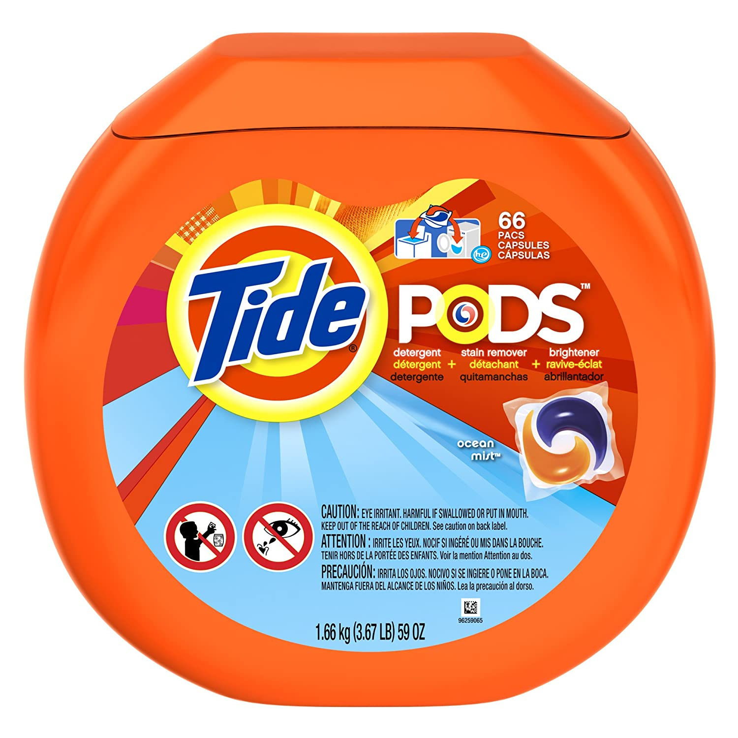 Tide Pods Detergent Ocean Mist 66 Loads 1 Tub, 66 CT (Pack of 4): Amazon.com: Grocery & Gourmet Food