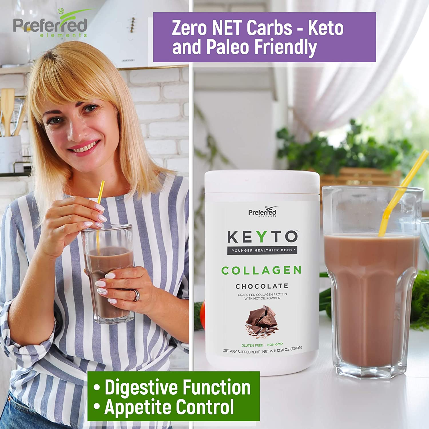 Amazon.com: Collagen Protein with MCT Oil Powder – Premium Keto Friendly Pure Grass Fed Pasture Raised Hydrolyzed Collagen Peptides – Perfect for Low Carb ...