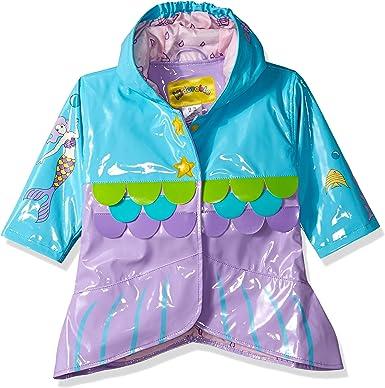 Teeth Hood Fin Kidorable Shark Grey PU All-Weather Raincoat for Boys w//Fun Shark Mouth Pocket