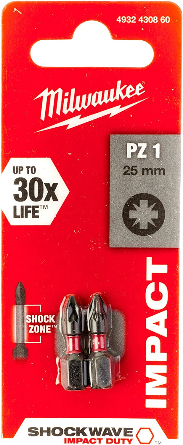 2 Unidades, 25 mm Milwaukee 4932430850 Shockwave Gen II PH1-Punta de Destornillador
