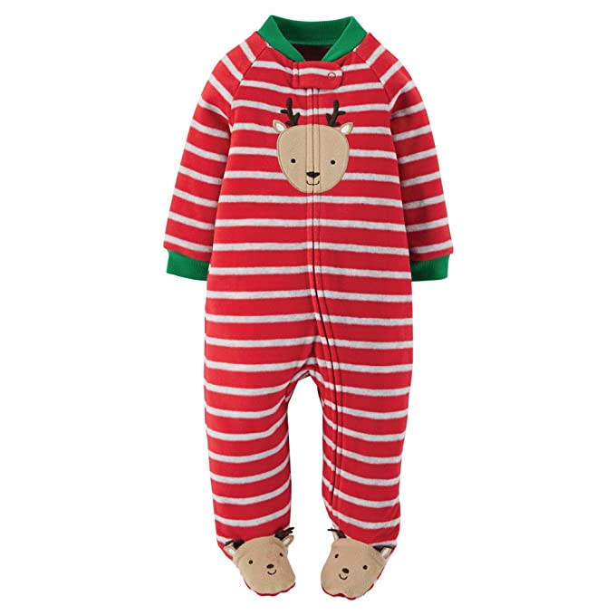 5bda2a92abd0 Amazon.com  Carter s Infant Boys Red Stripe Fleece Christmas ...
