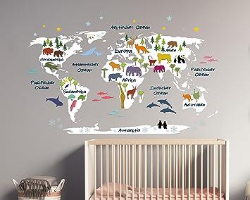 Wandtattoo Weltkarte für Kinder in weiß mit Bunten Tieren (179 x 110 ...