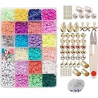 Baoblaze 3200Pcs Flat Round Polymer Clay Spacer Beads para Fazer Jóias Pulseiras Colar Brinco DIY Craft com Pingente de…