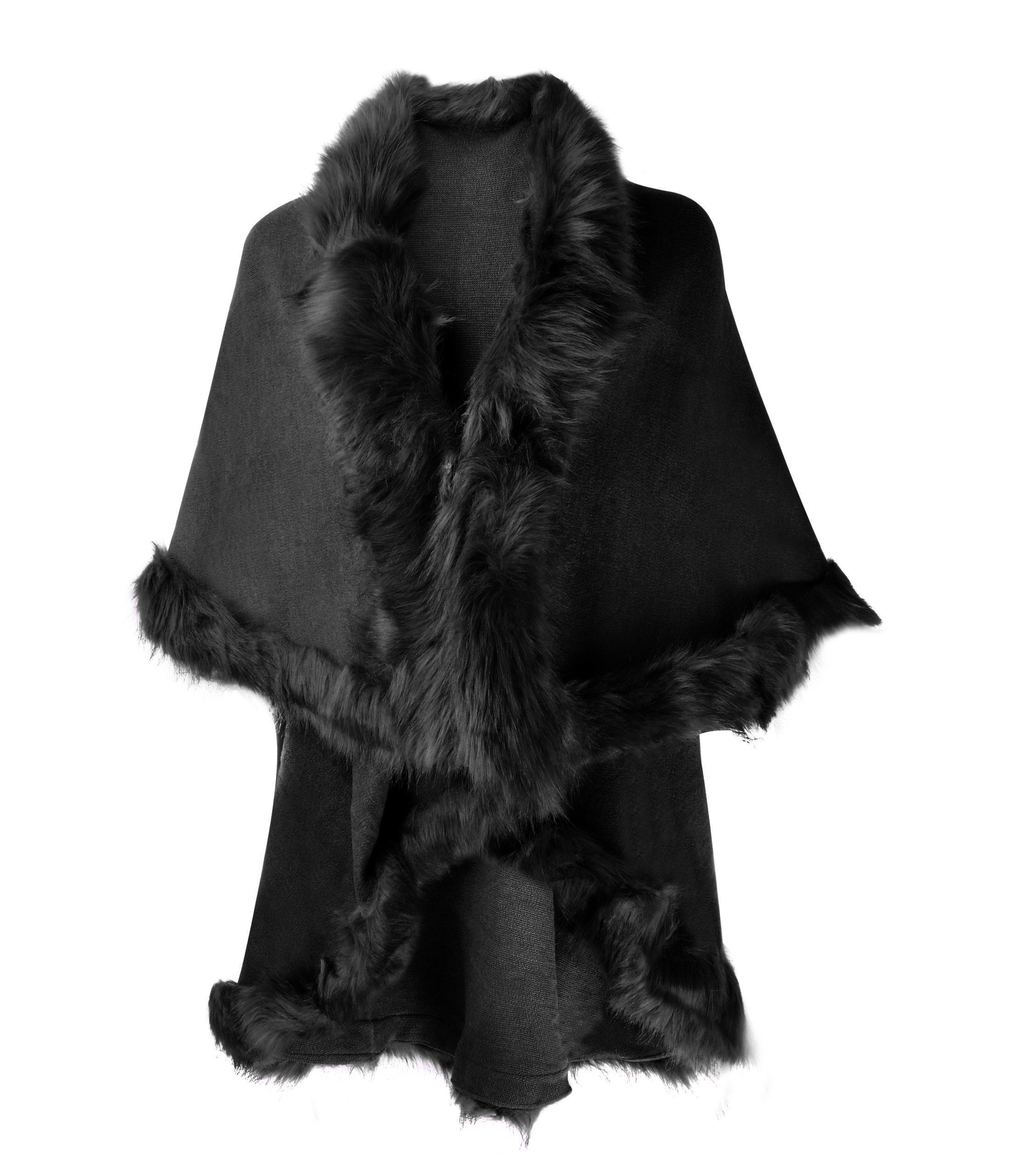ZLYC Women Fine Knit Open Front Faux Fur Trim Layers Poncho Cape Cardigan Sweater (Black 2)