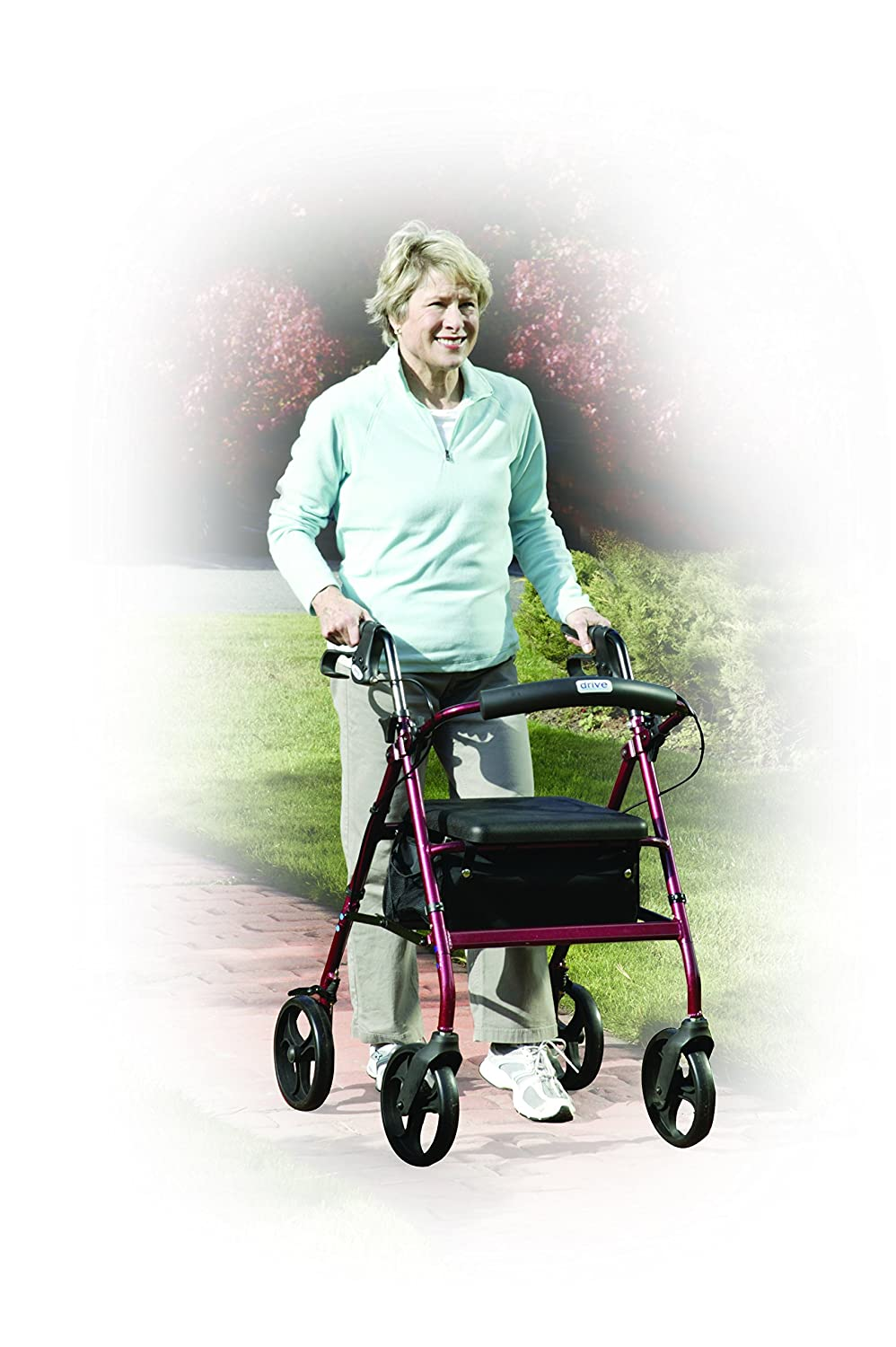 R728RD - Aluminum Rollator with Fold Up and Removable Back Support ...