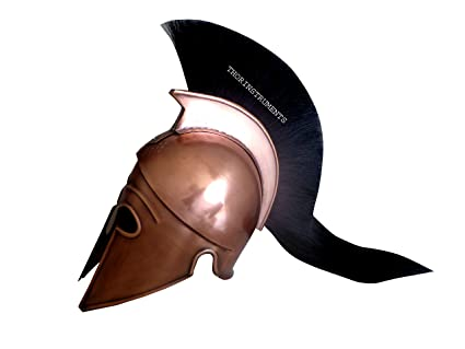 Medieval Armor Corinthian Helmet With Black Plume Replica Copper Finish Helmet Buy Now Militaria