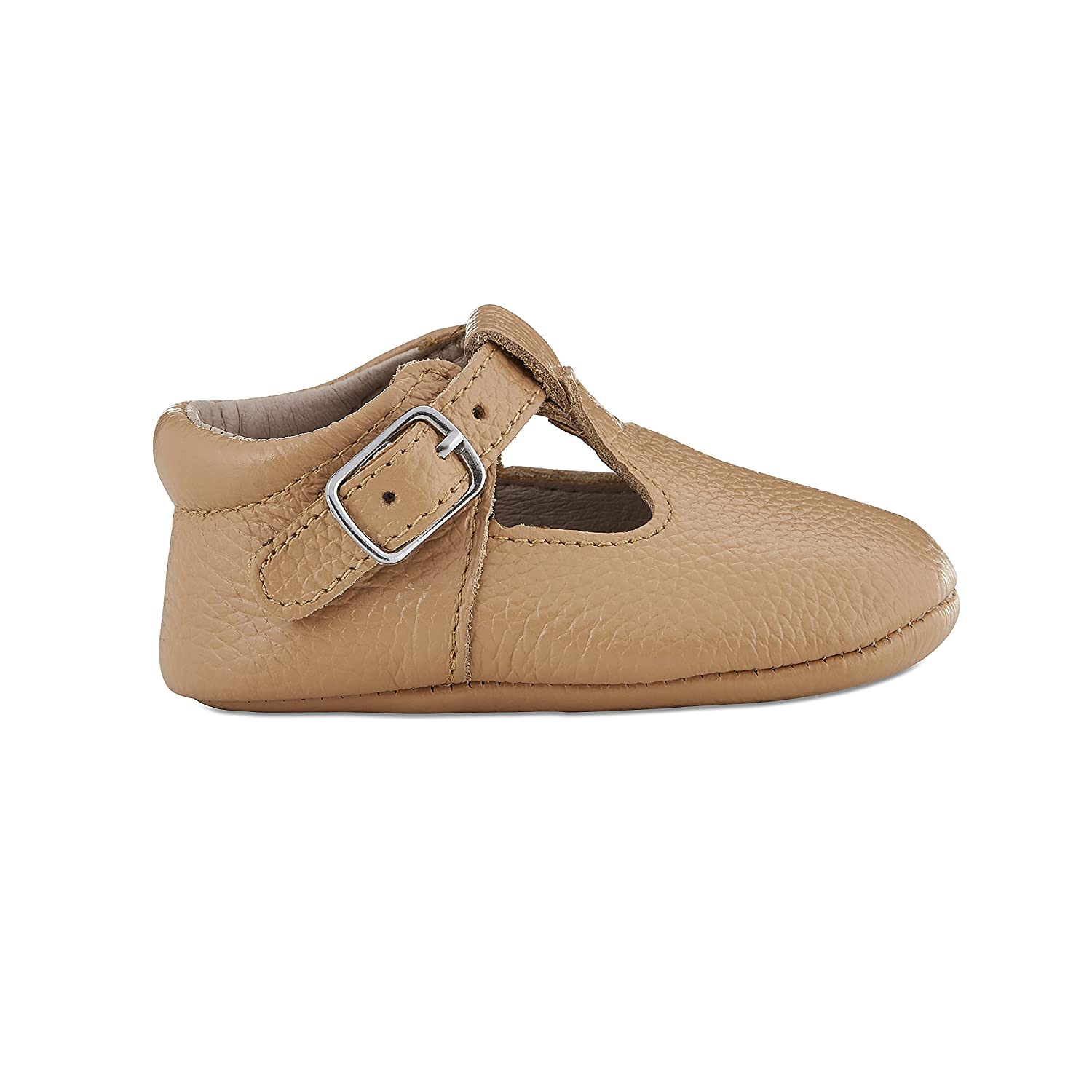 Babe Basics Baby Mary Janes | T-Bars | Genuine Leather Moccasins with T-Strap for Babies and Toddlers Caramel)