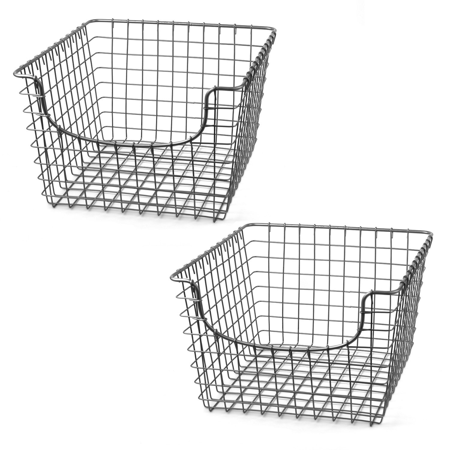 Spectrum Diversified Scoop Wire Storage Basket, Medium, Satin Nickel, 2-Pack 98977-2