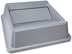 Rubbermaid Commercial FG266400GRAY HIPS Untouchable Square Trash Can Swing Top, 20-1/8-inch, Gray