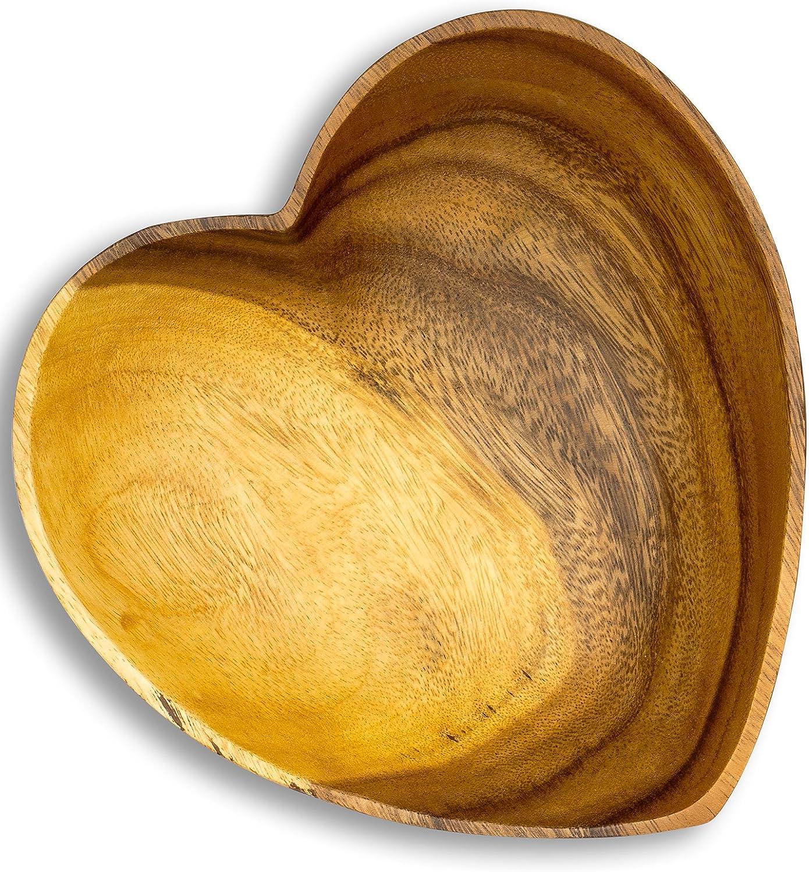 levandeo 3er Set Sch/üssel Akazie 10x3cm Herz Holz Design Schale Obstschale Obstkorb Brotkorb Unikat Tischdeko