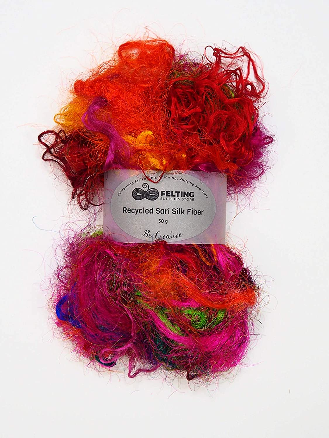 Spinning Recycled Sari Silk Fiber Mix Assorted Colors for Wet Felting Nuno Felting Crafts Paper Making Textile Projects