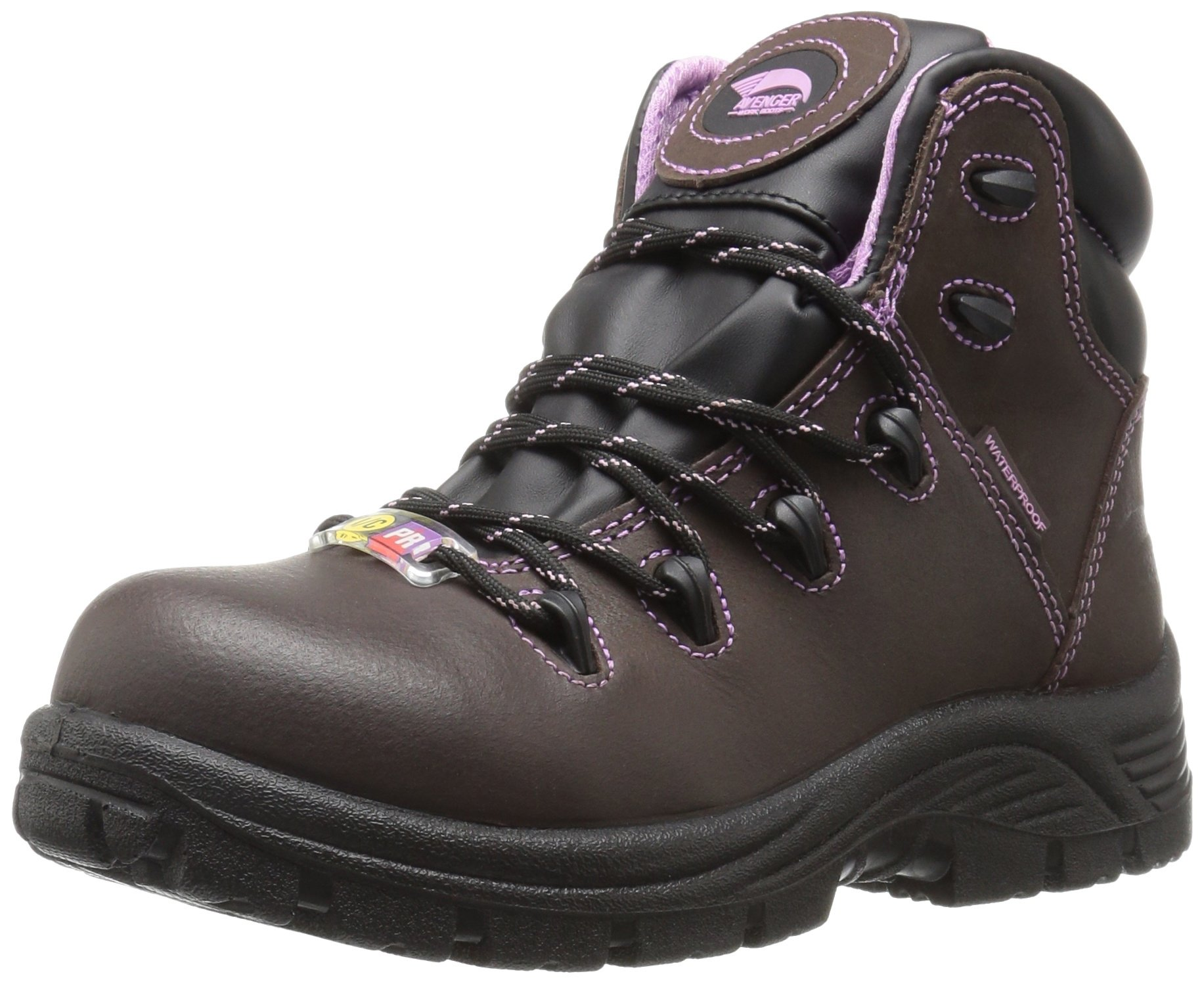 Avenger Women's 7123 Leather Waterproof Puncture Resistant Comp Toe EH Work Boot Industrial and Construction Shoe, Brown, 8 2E US