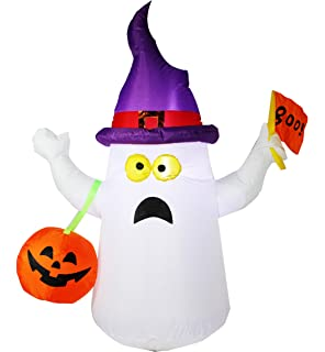 joiedomi 45 ft halloween inflatable blow up ghost with boo flag for halloween decoration