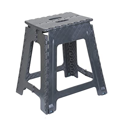 Folding Step Stool 18 Inch (Grey) (Grey): Kitchen & Dining