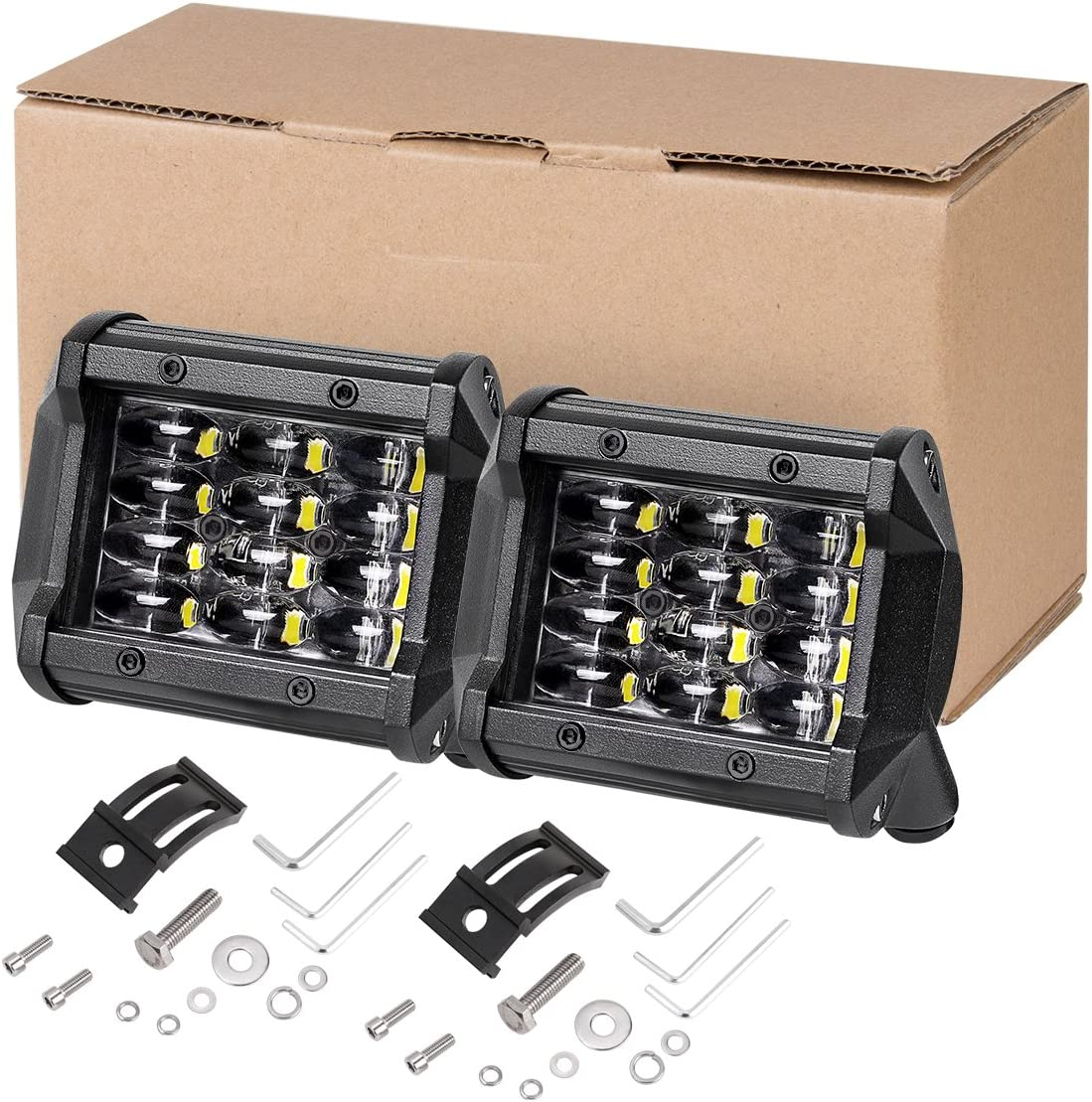 LED Pods Auto Power Plus 2pcs 4 inch 126W Fog Lights Off Road Driving Lights Waterproof Cree LED Cubes Square Work Lights for Truck Tractor Jeep ATV Fork Lift Boat Lights