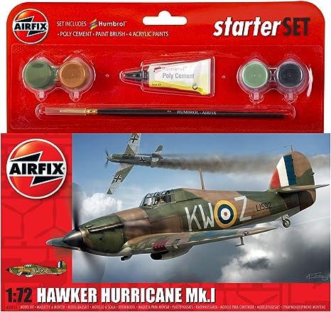 #55111 Starter Set Airfix 1:72 Airplane Model Kit Hawker Hurricane Mk.I