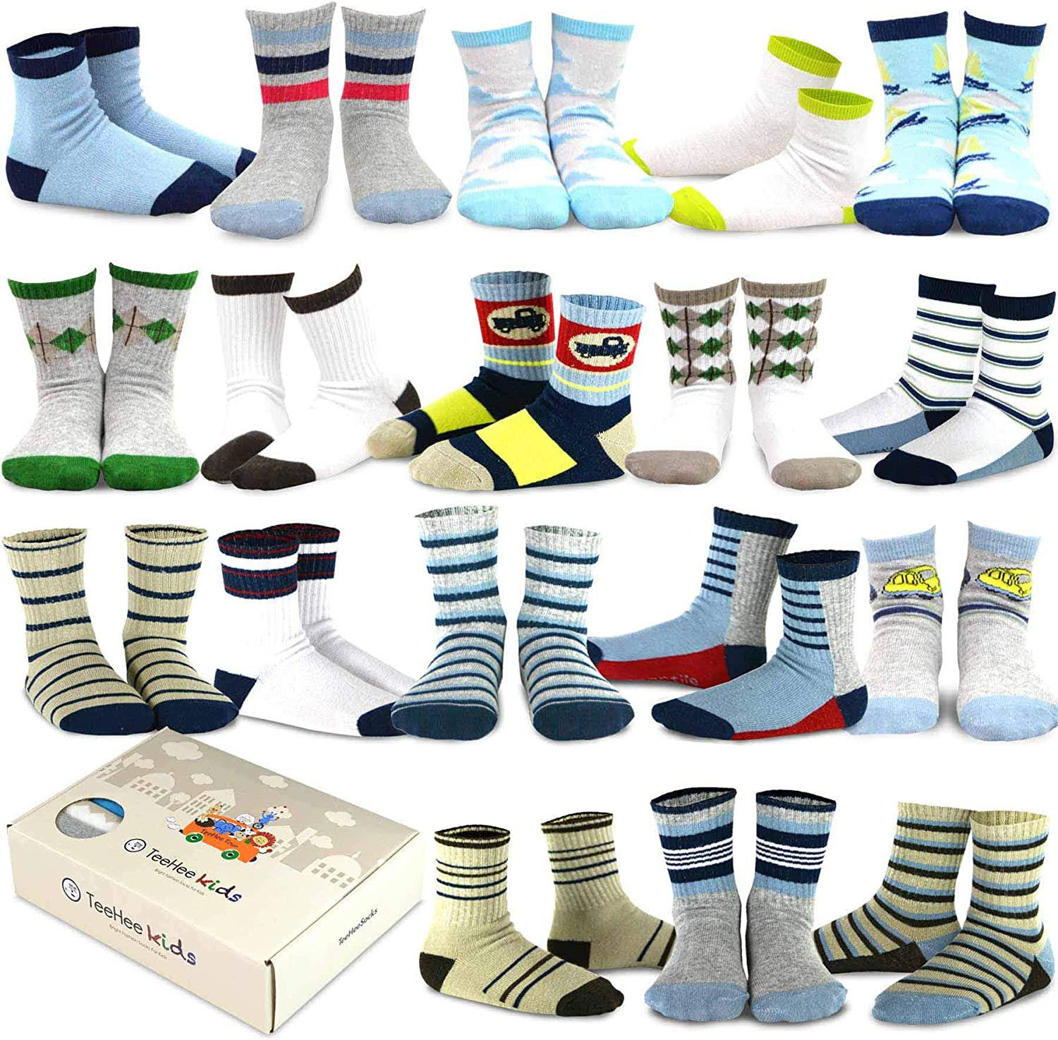 TeeHee Little Boys and Toddler Casual Sports Novelty Cotton Crew Socks 18 Pair Pack Gift Box: Clothing