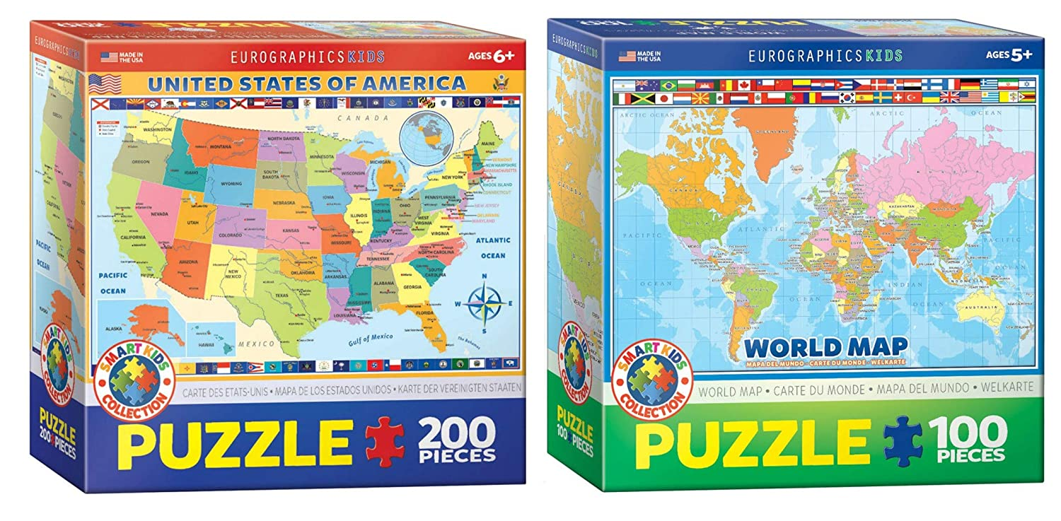 United States Map Puzzles.Amazon Com Eurographics Kids Geography Puzzle Set Two Map Puzzles