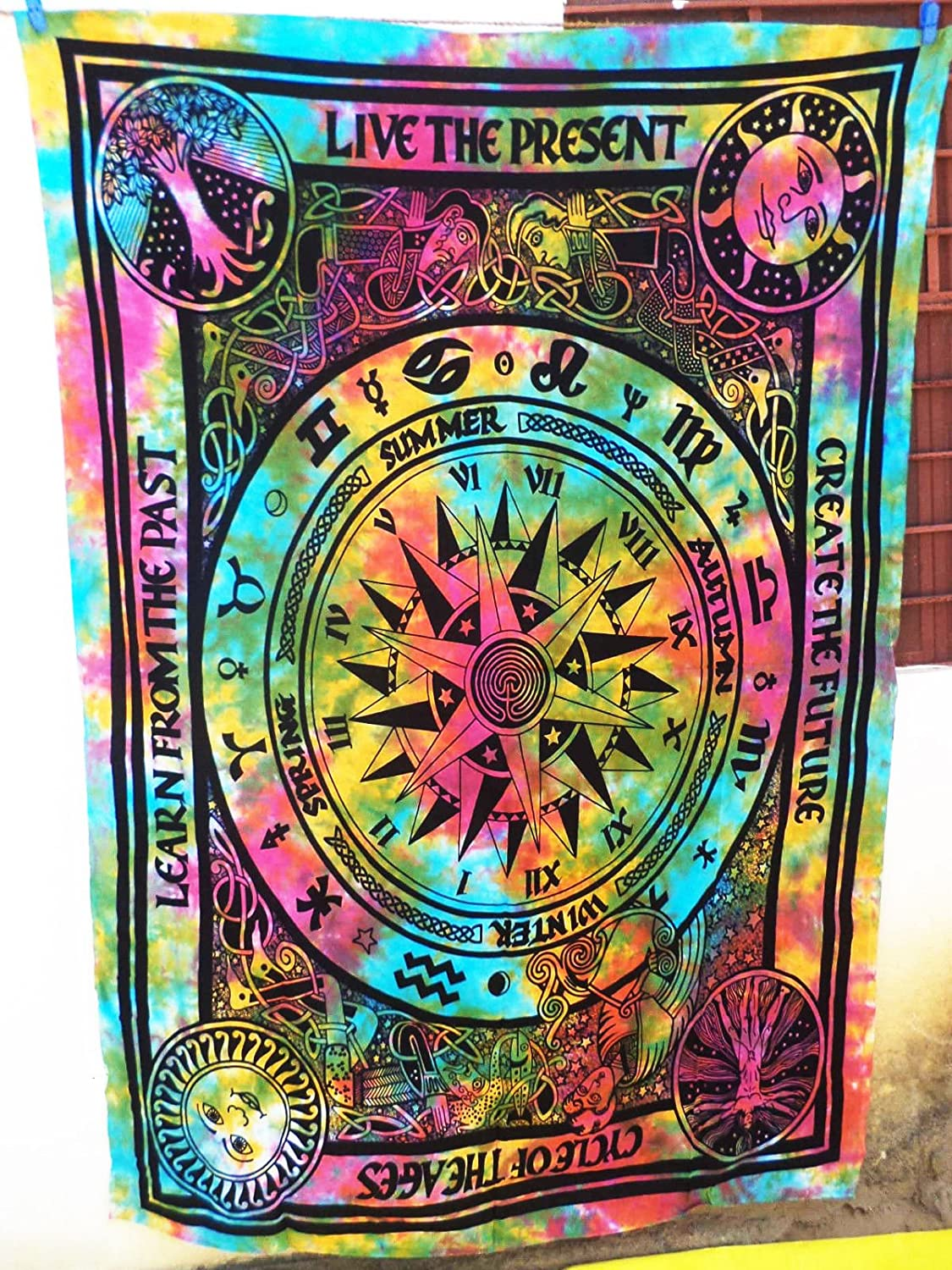 Future Handmade Cycle of Ages multi color twin tapestry wall tapestry hippie tapestry wall hanging Indian psychedelic tapestry mandala beach throw boho tapestries bohemian bedspread Size 81x55 Inches FH25