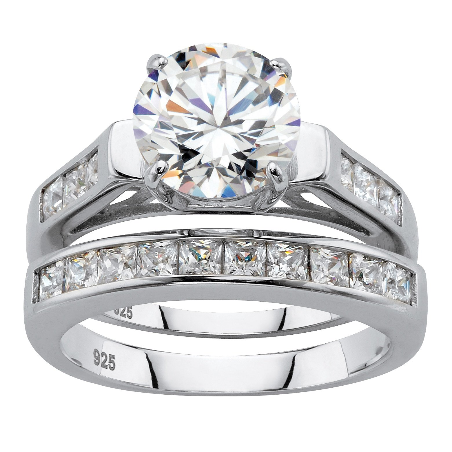 Platinum over Sterling Silver 2 Piece Bridal Ring Set, Round Cubic Zirconia Size 8