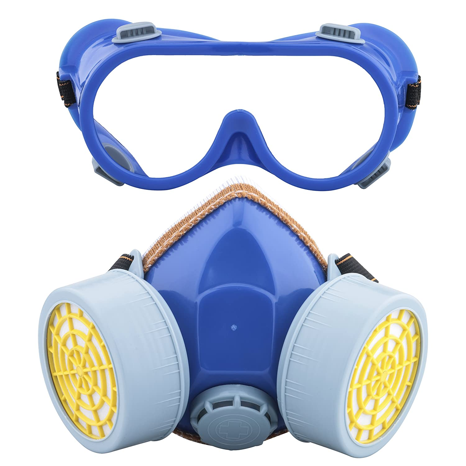 Ewolee Anti-Dust Spray Paint Industrial Chemical Gas Respirator Mask Glasses Goggles Set