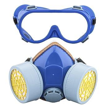 Ewolee Máscara respiratoria de Gas para Pintar, Mascarillas y Respiradores Antipolvo con Gafas de Seguridad