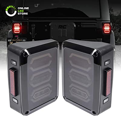 Jeep Wrangler LED Rear Tail Light [Hexagon Design] [Smoke Lens] [Plug n Play] - Jeep Wrangler JK JKU Unlimited Brake Tail Light Accessories for Jeep 2007-2020: Automotive