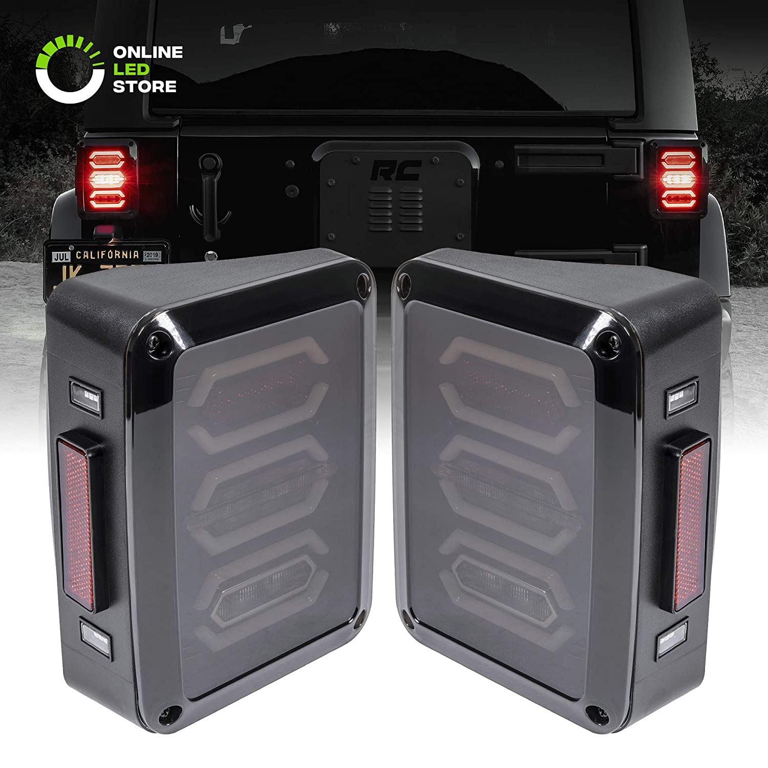 4pc 4' Inch Round LED Trailer Tail Lights [DOT Certified] [Stainless Steel Chrome Bezel] [Connector Plug Included] Stop Brake Lights for Trucks RV Jeep ONLINE LED STORE