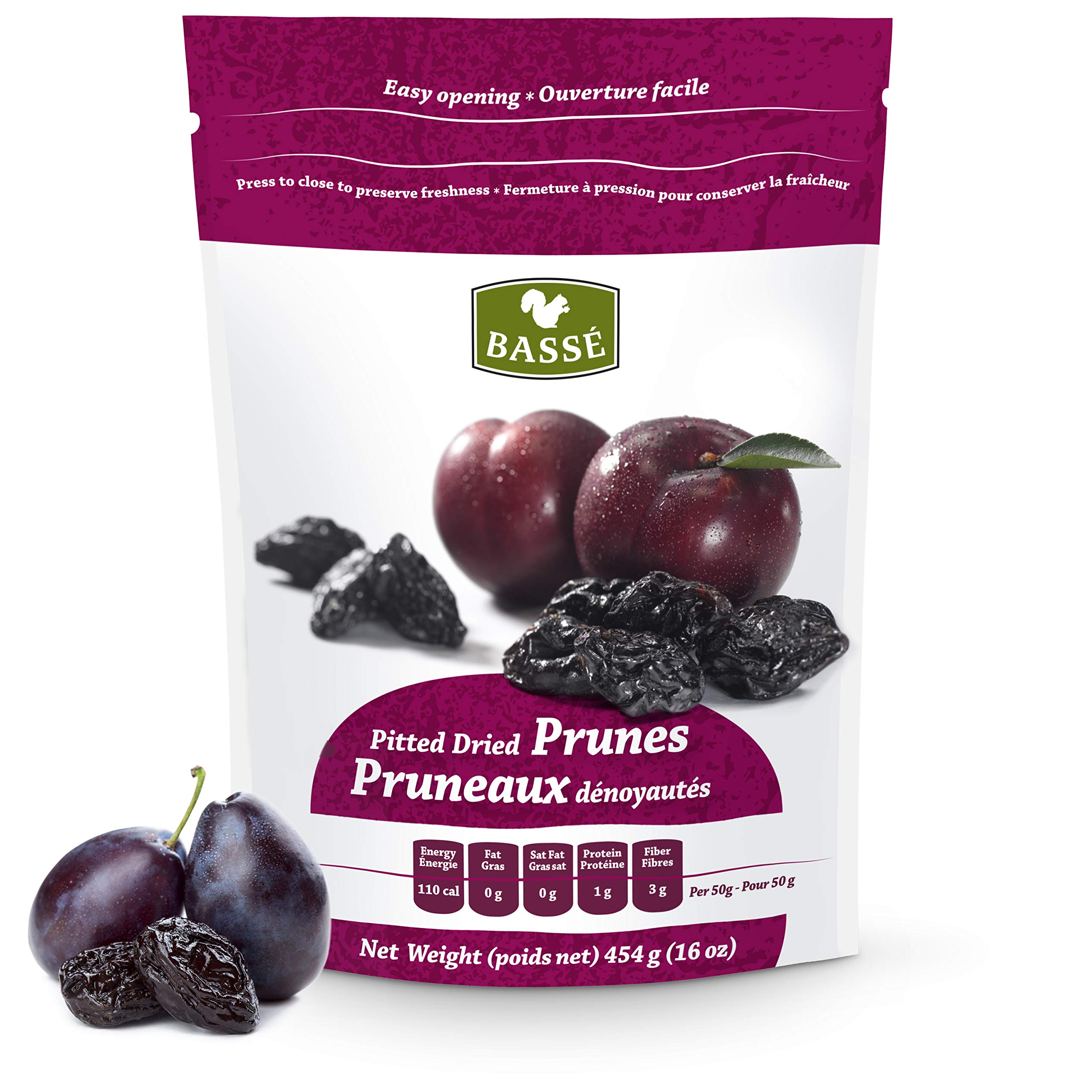 Prunes, 1 Pound Dried Pitted Prunes from Basse Dried Fruits - 16 oz Bag of Dried Prunes, Best Foods For Weight Loss, Delicious Sweet Prunes full of Nutrition and Health Benefits by Basse Nuts