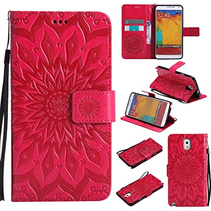 the latest 46905 2951d Galaxy Note 3 Wallet Case,A-slim(TM) Sun Pattern Embossed PU Leather  Magnetic Flip Cover Card Holders & Hand Strap Wallet Purse Case for Samsung  ...