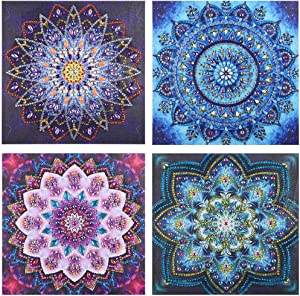 "5D DIY Diamond Painting Set, Embroidery Paintings Pictures Full Drill Rhinestone Diamond Painting Kits for Adults Kid Mandala Flower Arts Crafts for Home Wall Decor 9.75"" x 9.75"" (4 pcs Flower)"