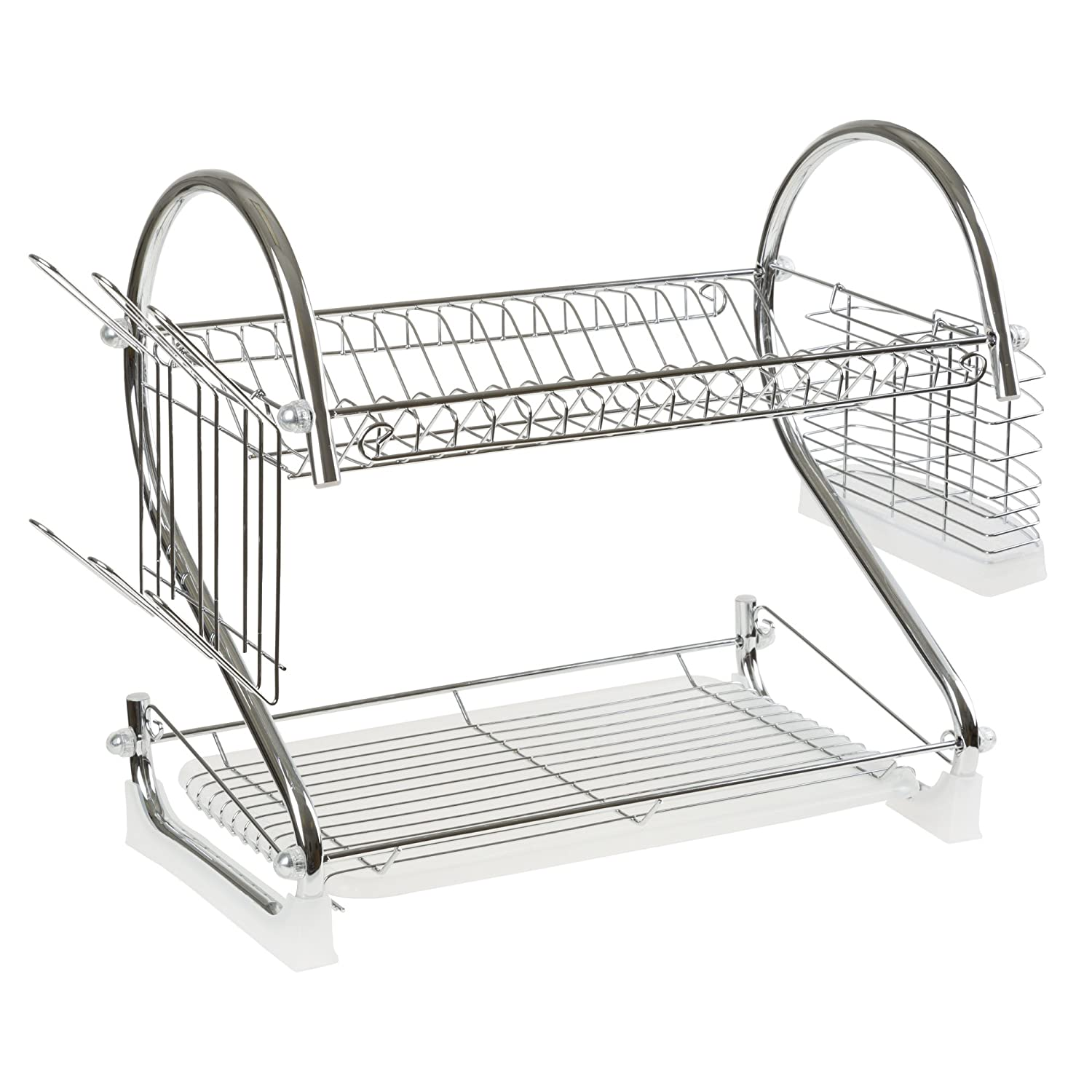Chrome Dish Drying Rack - 2 Tiered with Cup and Utensil Holders by Chef Buddy 82-2002