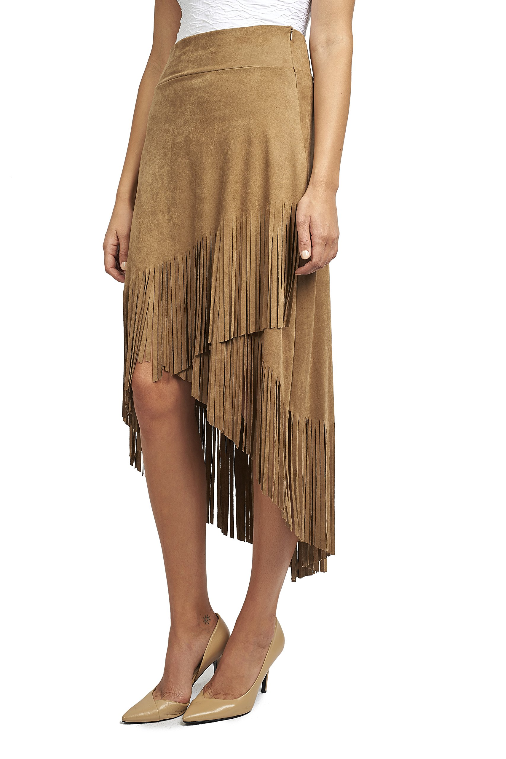 Joseph Ribkoff Faux Suede Asymmetric Skirt with Fringe Style 171388 - Size 14 by Joseph Ribkoff