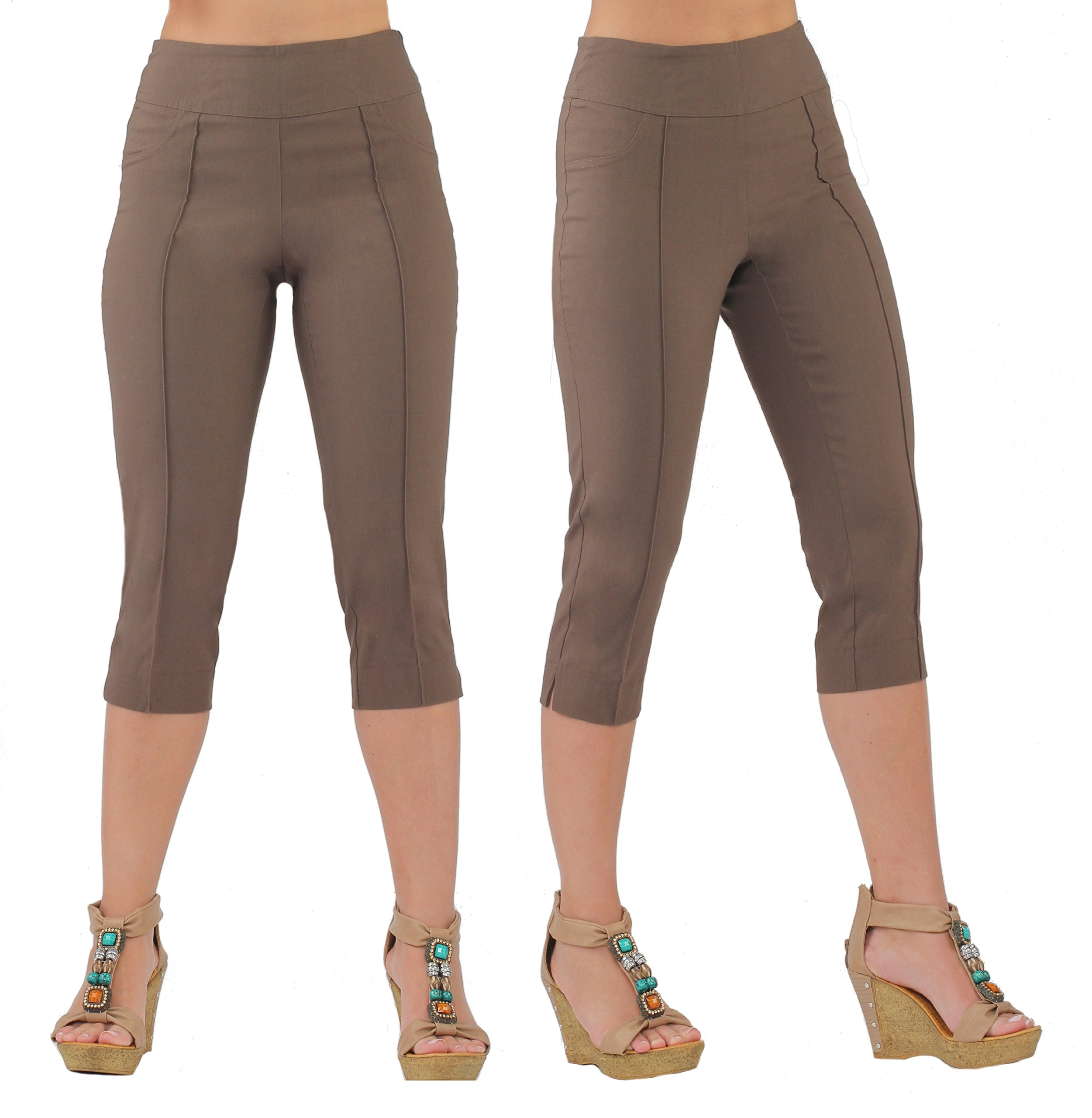 Lior Paris Women's LUNA Tapered Leg Pull on Capri with Top Stitching Details (5,Taupe)