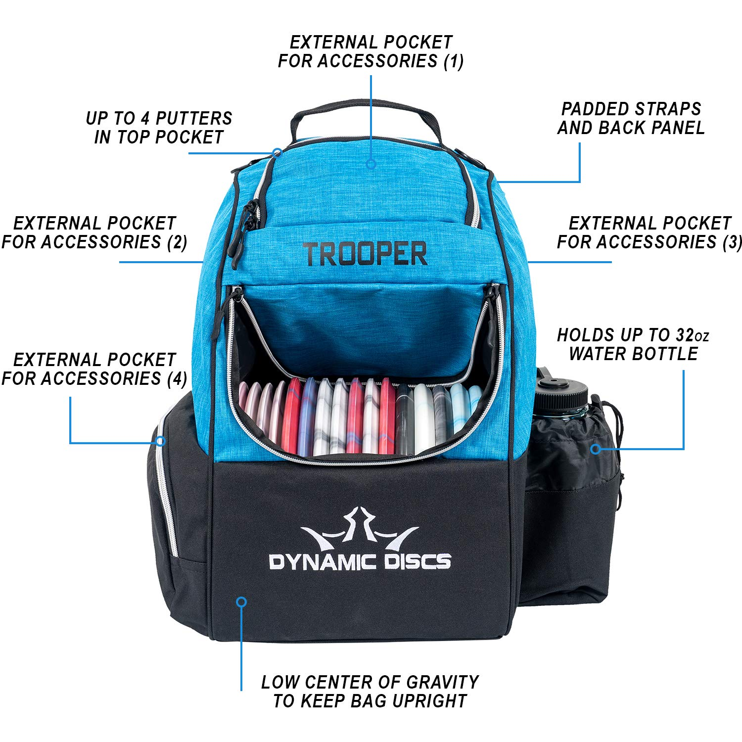 Dynamic Discs Trooper Disc Golf Backpack   Heather Blue   Frisbee Disc Golf Bag with 18+ Disc Capacity   Introductory Disc Golf Backpack   Lightweight and Durable by D·D DYNAMIC DISCS